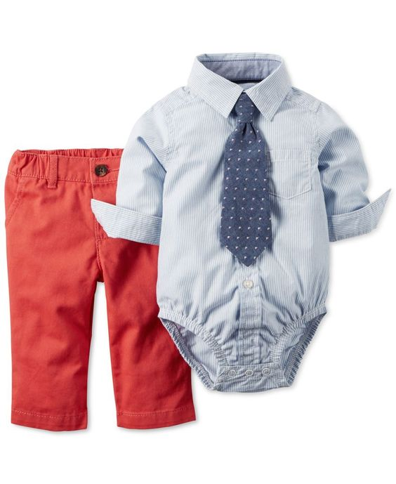 Carter's Baby Boys' 3-Piece Plaid Bodysuit, Pants & Necktie Set