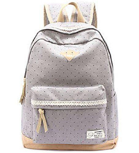 G2Plus Leichte Schulrucksack mit Polka Dots Nette Canvas Schultaschen Damen Mädchen EXTRA Groß Daypacks Rucksäcke Modische Backpack mit Laptop Fach 33 cm * 45 cm * 16 cm - Little Princess, http://www.amazon.de/dp/B013QKGEMS/ref=cm_sw_r_pi_awdl_x_zIa3xbX8XCPVC