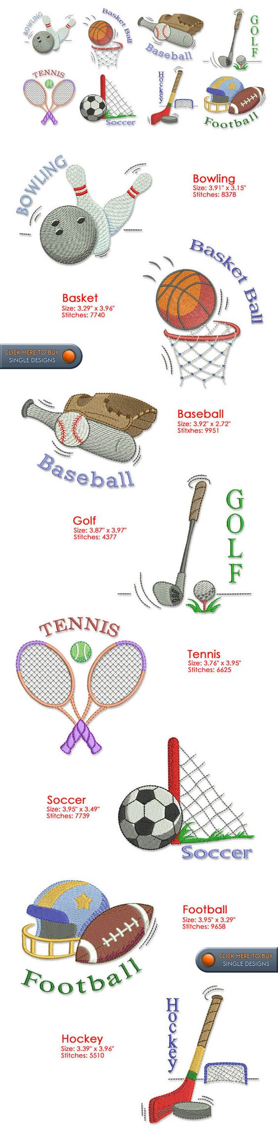 Sports Designs Embroidery 92