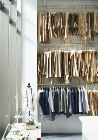 :O !!!! estudio |    I have hung up some of my patterns (copied onto large format tracing paper) by clamping one end in a trouser hanger, similar to this pattern library.