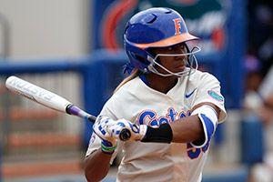 Briana Little's school-record three home runs powered Florida in Game 1. (Photo: Rachel Mowat)