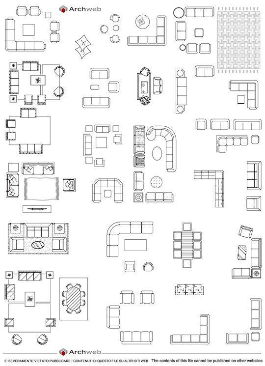 Divano Letto Dwg.Living Room Sofas Dwg Divani Progettista Arredamento