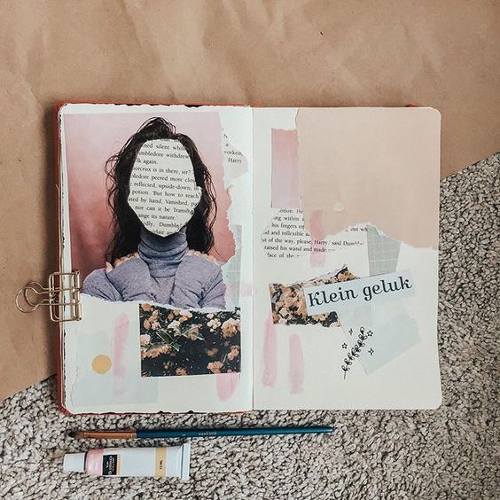 So this is a collage spread that I made in my art journal last night  I felt so inspired by the video of @journalbean . I know this spread isnt perfect but for me when I work in my art journal it is just a outlet for my creative thought without thinking that it needs to be perfect   Book: trifted harry potter book Pictures: mostly @flow_magazine  Paint: @actionnederland van bleiswijck Brush: @actionnederland van eyck 8 Art journal: @royaltalens art creations notebook A5 Fineliner: @winsorandnewt