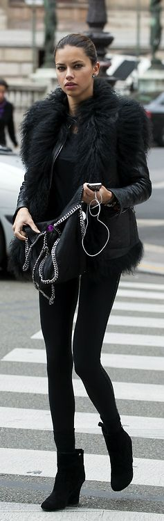FAUX REAL: Faux black fur with faux black leather= timeless winter look <3