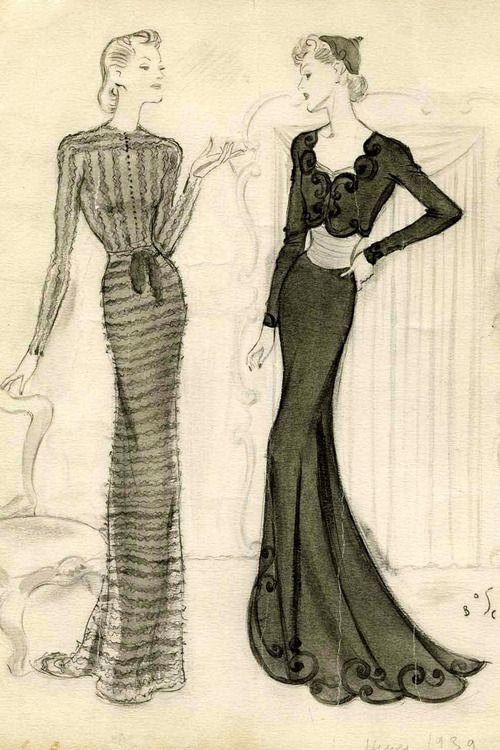 Drawing byFernando Bosc, Balenciaga Spring/Summer 1939