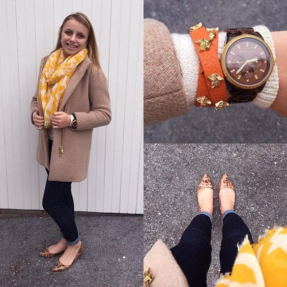"""""""Today's #ootd inspired by #wearwhatwhereoctober and #afoxincamel!  #a_classic_touch #fall #fallfashion #sotd #aotd #scarf #houndstooth #prep #preppy #fblogger #fashionblogger #flats #leapordprint"""" Photo taken by @a_classic_touch on Instagram, pinned via the InstaPin iOS App! http://www.instapinapp.com (10/27/2015)"""