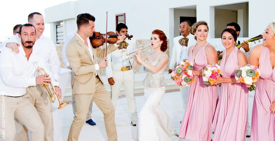 Love the fun soul of the bride and groom!  Mariachi Time!  cancun wedding photography www.jaimeglez.com