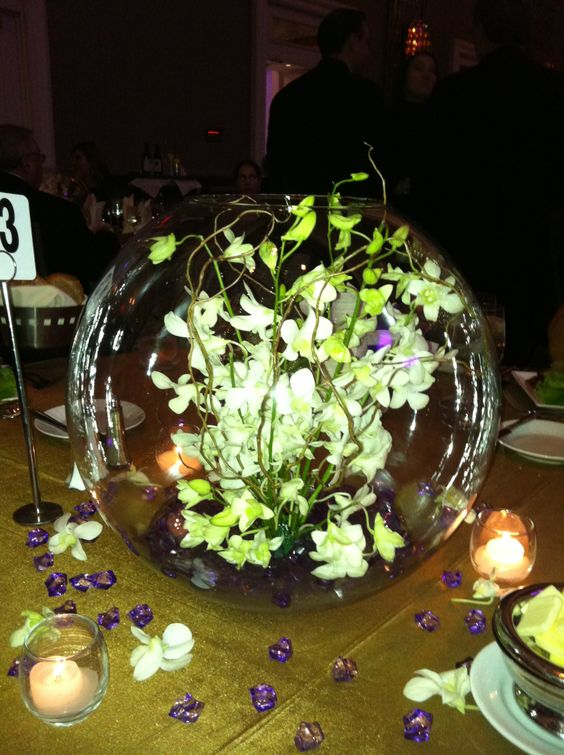 Fish bowl centerpieces and bowls on