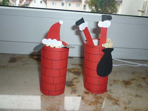 plumps - der Weihnachtsmann ist abgestürzt - in den Kamin; gebastelt aus Toilettenpapierrollen