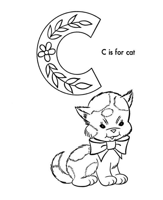 ABC Alfabeto Hojas para colorear - ABC Cat - Animales para colorear ...