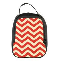 Red and tan chevron print Neoprene Lunch Bag > Chevron print > McIntyre Creations