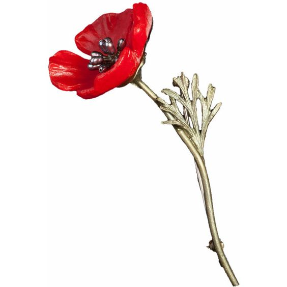 Red Poppy Pin ❤ liked on Polyvore