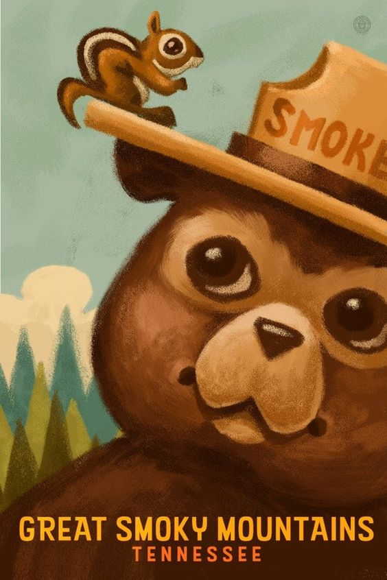 Great Smoky Mountains, Tennessee - Smokey Bear and Squirrel (Art Prints, Wood & Metal Signs, Canvas,