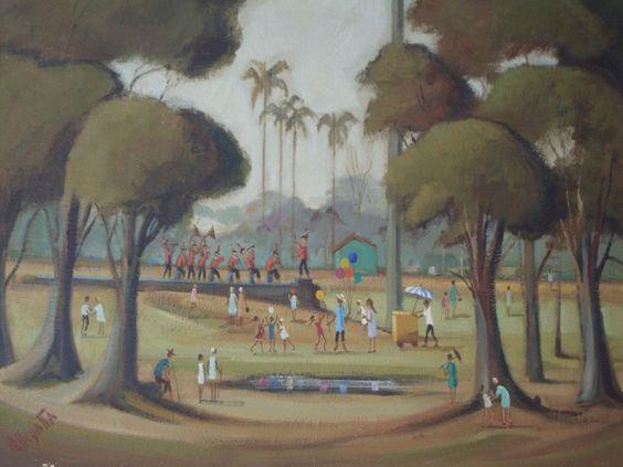 Omar Pellegatta - A Praça - Óleo sobre tela - 60x80cm - com moldura