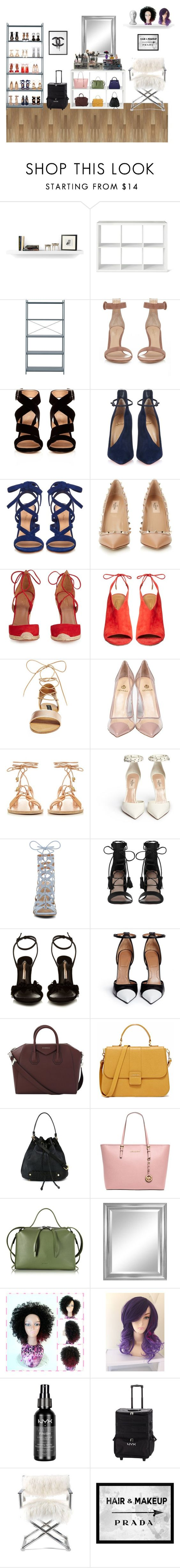 """""""Makeup Studio Bedroom"""" by crystal-castleberry on Polyvore featuring TemaHome, Threshold, ferm LIVING, Gianvito Rossi, Christian Louboutin, Valentino, Aquazzura, Steve Madden, Semilla and Ancient Greek Sandals"""