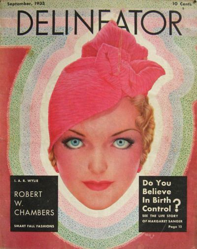 1933 Delineator Magazine Cover ~ Woman with Pink Hat