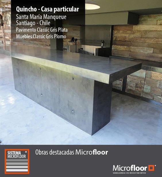 Quincho pavimento y muebles revestimiento en for Muebles microcemento