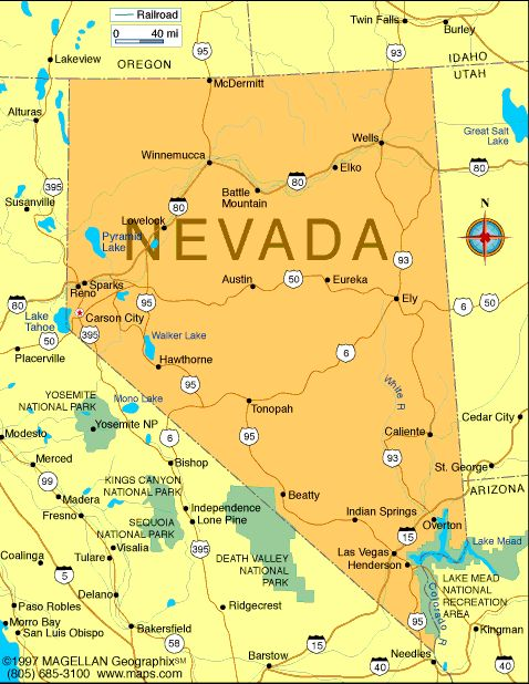 Map Of NevadaCapital Carson City Organized As A Territory - Hoover dam on us map