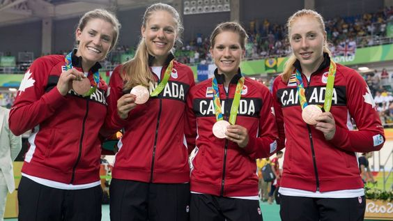 Canada's (right to left) Allison Beveridge, Jasmin Glaesser, Kirsti Lay, and Georgia Simmerling celebrate after winning the bronze medal in cycling team pursuit at the velodrome at the Olympic games in Rio de Janeiro, Brazil, Saturday, August 13, 2016. THE CANADIAN PRESS/Frank Gunn