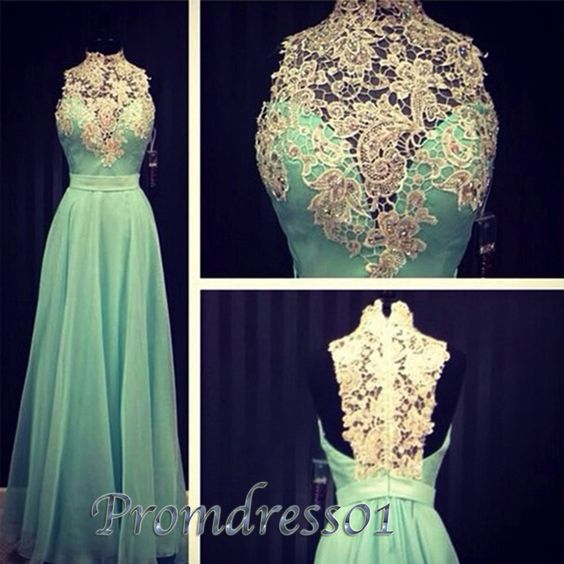 Elegant high neck a-line turquoise chiffon prom dress with lace top, ball gown for teens, prom dresses long #coniefox #2016prom