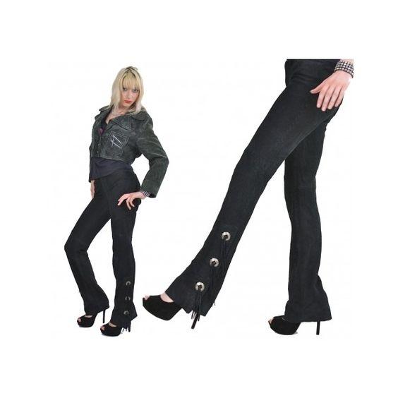 Vtg Vintage 60s black suede leather pants jeans fringe conchos... via Polyvore