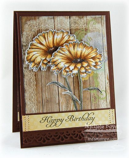 Love the yellow florals and that beautiful wood grain backdrop.