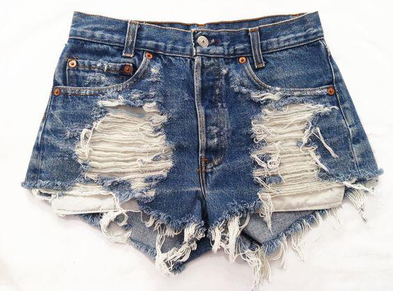 Vega shorts studded cut offs by Omeneye on Etsy