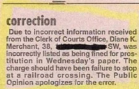 15 Hilarious Newspaper Mistakes and Apology Notes (funny newspaper mistakes) - ODDEE