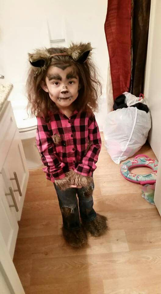 Girly Werewolf Costume And Makeup With Ears And Faux Fur Decorated Clothes Werewolf Costume Wolf Halloween Costume Halloween Costumes For Kids