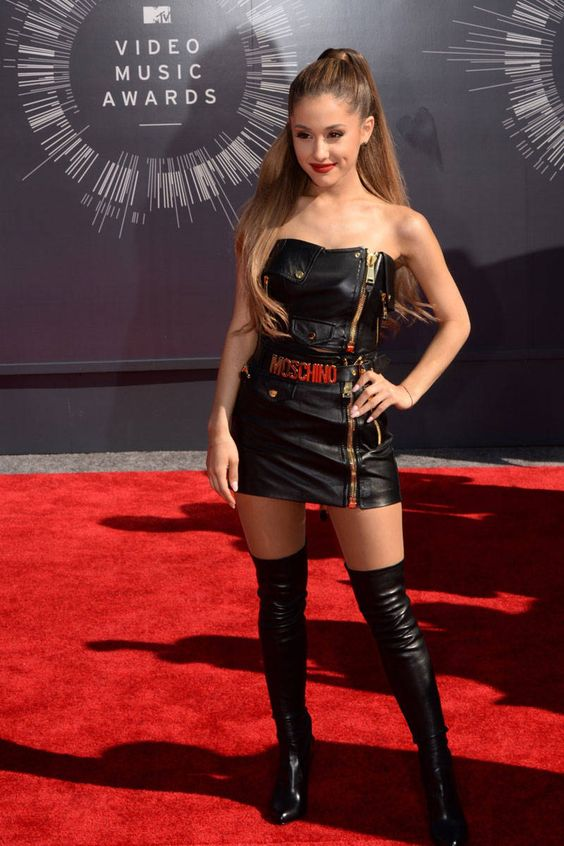 Ariana Grande in Moschino and Tom Ford boots