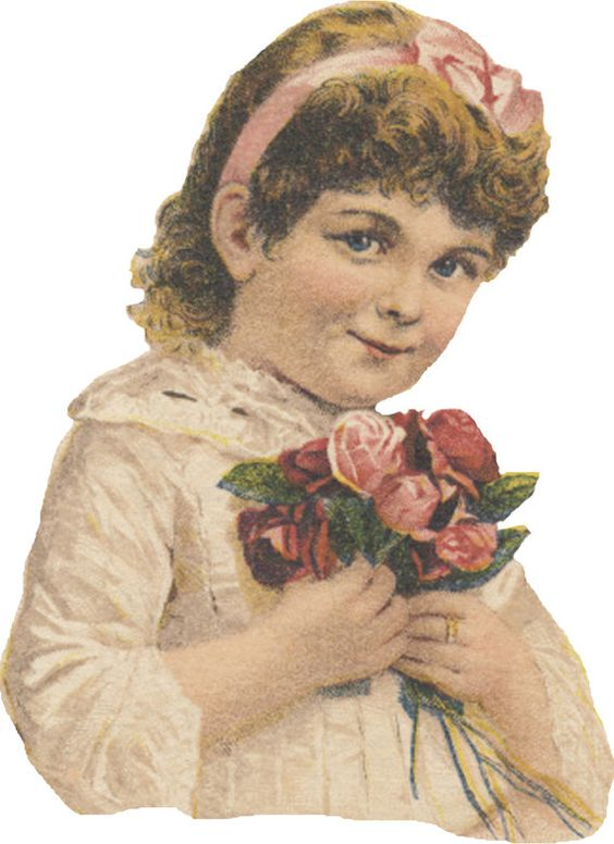 This printable die cut of a nice little girl holding a bunch of roses in her hands is perfect for all your paper crafts: card making,: