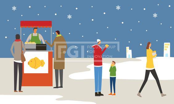 ILL169, 프리진, 일러스트, 겨울, 사람, ILL169, 에프지아이, 겨울 ...