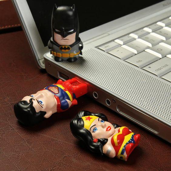 Batman, Wonder Woman and Superman USB drives