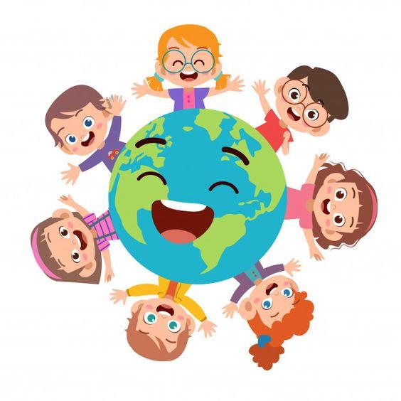 Kids earth day illustration Premium Vector