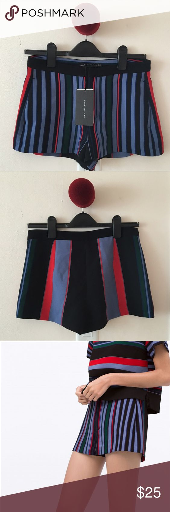 NWT Zara multicolored stripe shorts (sz XS) High rise multicolored stripe shorts from Zara. Inseam of ~2in. 100% polyester. Never worn, NWT. Zara Shorts