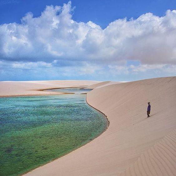 Hello World... Hi Everyone... Passport to Lençóis Maranhenses National Park, located in Maranhão state, in northeastern Brazil, just east of the Baía de São José . It is an area of low, flat, occasionally flooded land, overlaid with large, discrete sand dunes. It encompasses roughly 1500 square kilometers, and despite abundant rain, supports almost no vegetation. © @cbezerraphotos  #LençóisMaranhenses #NationalPark #brazil #Passport #Travel #discovery #discoverearth #earth #Explore…
