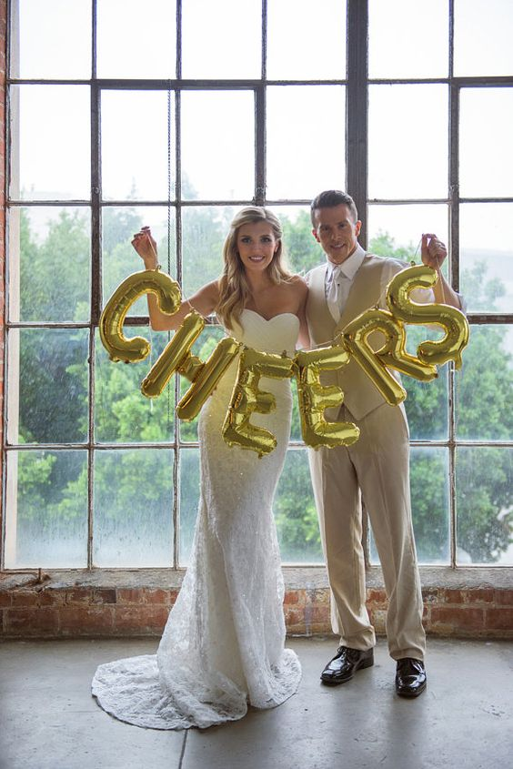 CHEERS letter balloons gold or silver foil by OhShinyPaperCo: