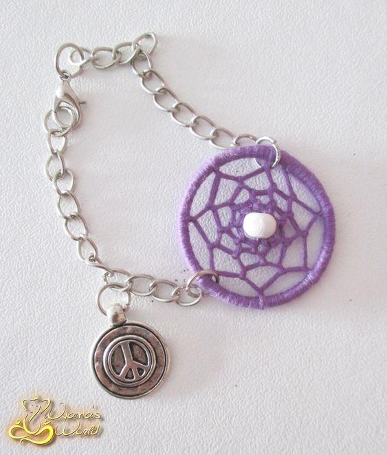 Pulseira em Dreamcatcher de cor Roxa com Medalha de Símbolo da Paz em Prata *