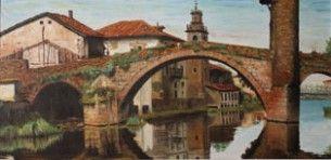 """Puente de Balmaseda  """"Este cuadro realista representa el antiguo puente de Balmaseda o también conocido como el Puente de Muza, Vizcaya, construido sobre el río Cadagua por los romanos. De este cuadro existen dos versiones de dimensiones distintas, ambas en colecciones particulares. Este paisaje ya no se puede admirar debido a la sustitución de los dos inmuebles que aparecen a la izquierda. Corresponden a mi primera época realista – paisajista"""""""