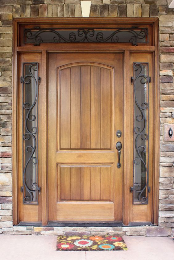Decatur Hendersonville Door W Wrought Iron Sidelights And