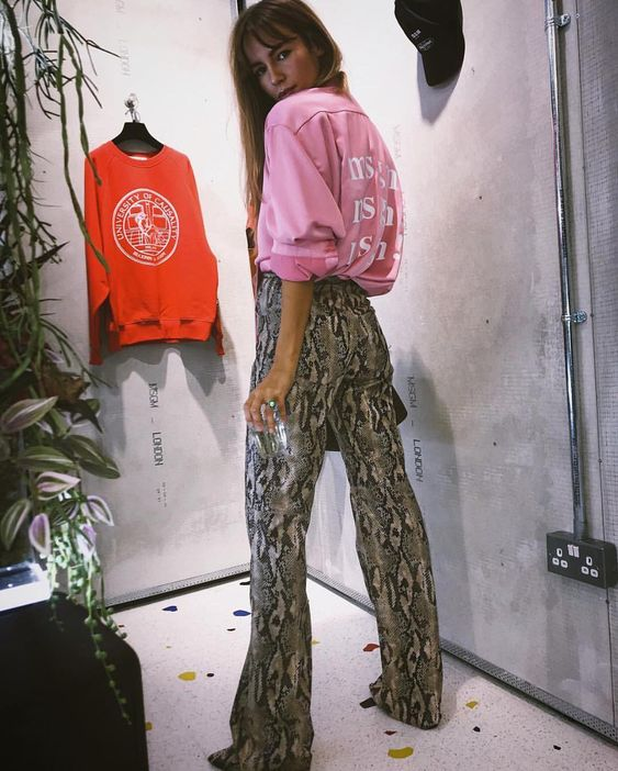 "MSGM on Instagram: ""#MSGMLondon 🇬🇧 RG @EmmaLouiseConnolly in #MSGMFW18 MSGM! printed satin and faux python pants at the opening of MSGM's new store, 278…"""