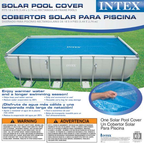 Intex Solar Cover For 18ft X 9ft Rectangular Frame Pools Measures 17 8 X 8 4 Best Offer Review Helps Keep Pool Wa Solar Cover Solar Pool Cover Pool Cover