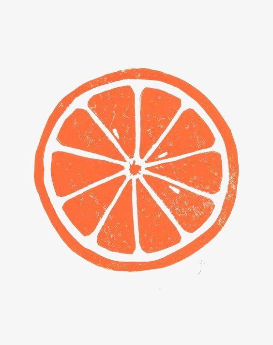 Cartoon Orange Slices Letterpress Poster Linocut Prints Linocut