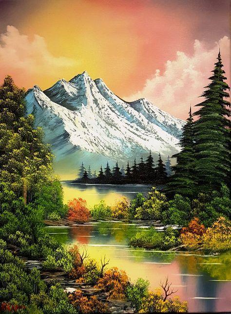 41 Ideas For Painting Canvas Landscape Bob Ross Landscape Art Painting Scenery Paintings Landscape Art