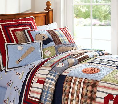 Junior Varsity Quilted Bedding #WilliamsSonoma- I want this for Evan's big boy bed