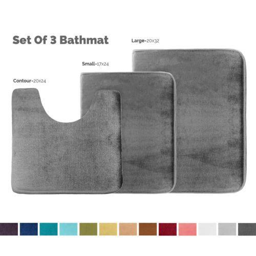 Details About Memory Foam 3 Pc Bathroom Rug Absorbent Bath Mat Set