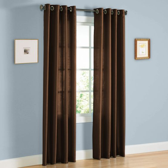Amazon.com - HLC.ME Pair of Chocolate Brown Faux Silk Grommet ...