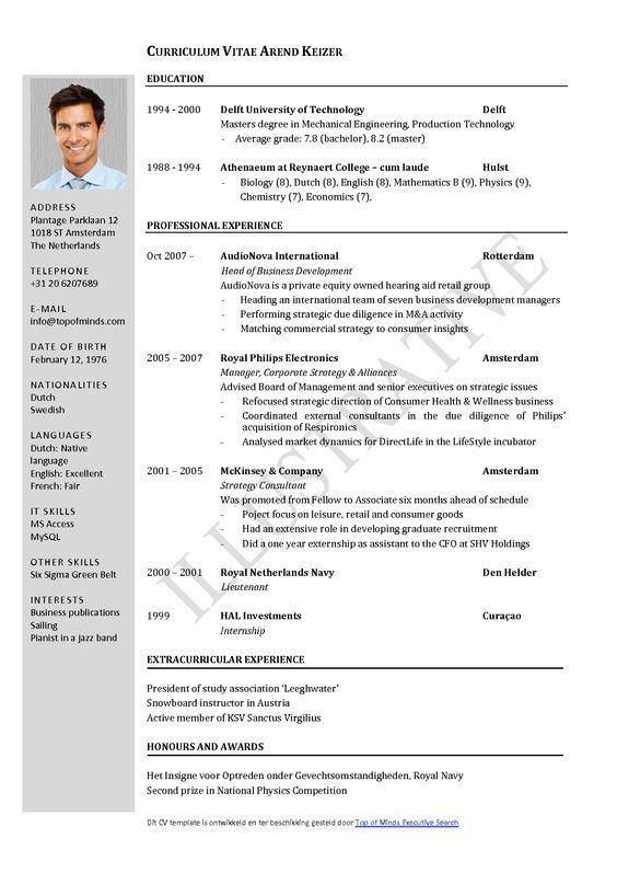 Curriculum Vitae Template Word Curriculum Vitae Formato De
