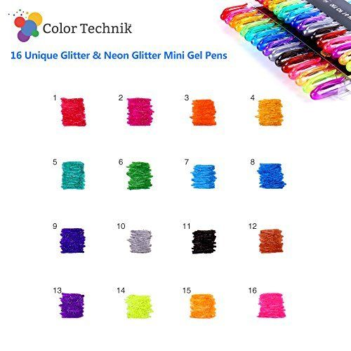 Enhance Your Coloring Experience Now Handy Travel Pack No Duplicates Best Assorted Colors Set of 16 Mini Glitter and Neon Glitter Pens Glitter Gel Pens by Color Technik 40/% More Ink