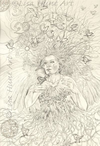 The finished Wren-Shapeshifter pencil drawing.